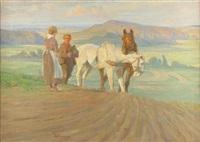 bauernpaar mit zwei pferden auf dem acker by peter valentin