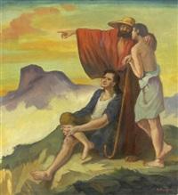 weisender hirte mit schäferpaar auf einem gipfel by franz reinhardt the elder