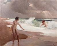 zwei badende damenakte am strand by wilhelm hempfing