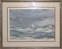 horn abeam, sir francis chichester's yacht gypsy moth iv by montague dawson