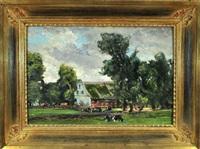 ländliche idylle mit kühen auf der weide, im hintergrund ein bauernhof by carl adolf korthaus