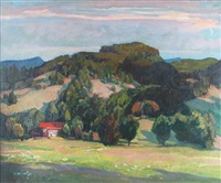 stilles tal. landschaft im abendrot by paul bürck