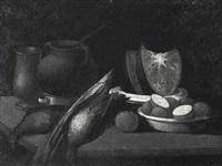 still life with fruit and fowl by salvator gutierrez