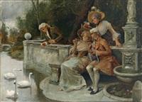 tändelnde junge pärchen am ufer eines parkteiches mit schwänen by antonio lonza