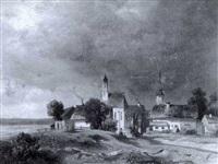 niederbayrisches kirchdorf bei aufziehendem unwetter by f. mayer
