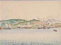 hügelige küstenansicht mit segelbooten und dampfschiff by agenor asteriadis