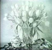 blumenstilleben mit gelben tulpen by johannes magerfleisch