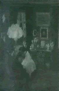 interieur mit nahender frau bei lampenlicht by charlotte oxholm