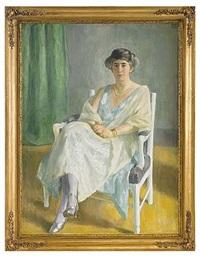 porträtt föreställande elegant dam sittande i karmstol by erik theodor werenskiold