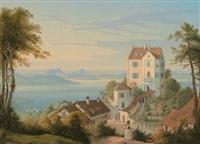 blick auf die burg salenstein, den zellersee und radolfszell by konrad corradi