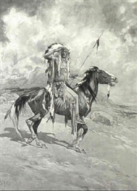 indian chief on horseback by daniel smith