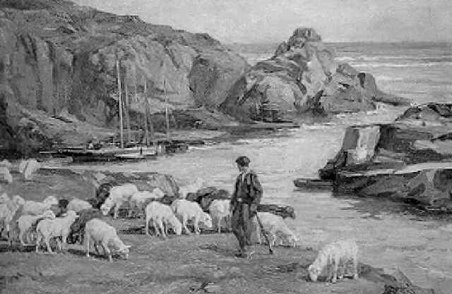 schäfer mit seiner herde an nordischer küste by louise de liniers
