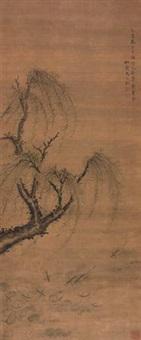 柳塘游鱼图 (willow and fishes) by ma yuanyu