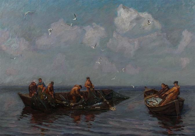 fischer beim einziehen eines netzes by dimitri nekrasov