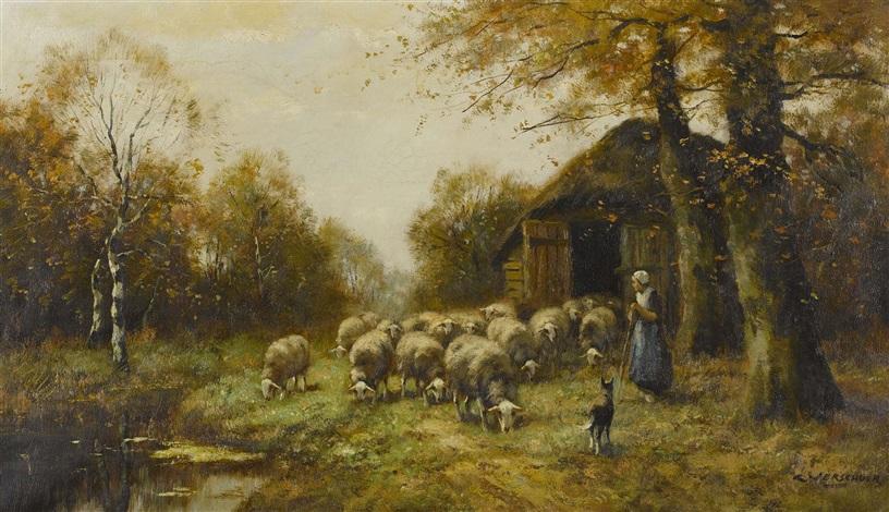 Schäferin mit Herde by Cornelis Bouter on artnet | {Herde 40}