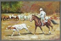 cowboy beim fangen des rindes mit dem lasso by philippe simon