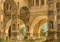 phantastische architektur bei mondschein by johann friedrich morgenstern