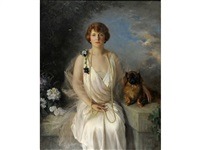 portrait of agnes marsh, wife of henry wheelwright marsh, july 1915 at warwick castle by frank percy wild