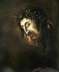 miserere nobis - christuskopf mit dornenkrone by oskar lindner
