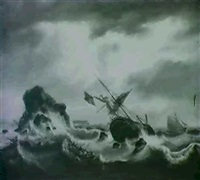 english man o' war in distress in rough seas by j. rumley
