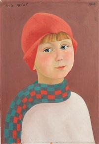 bregenz. büstenporträt eines kindes mit roter mütze und kariertem schal by friedrich krcal