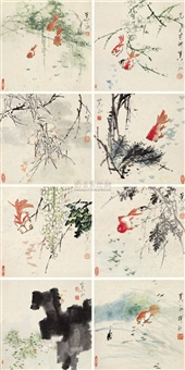 紫绶金章(九帧)(flowers) (album of 9) by jiao yu