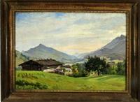 almhütte mit blick in die weite schweizer bergwelt bei château-d'oex by paul françois louchet