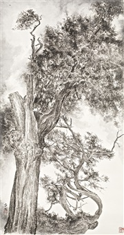 tree study no.1 for qing qi gu guai by zeng xiaojun