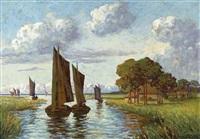 uferlandschaft mit segelschiffen by emy rogge