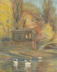 swans near the boat house by valentine metein-gilliard