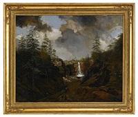 bergslandskap med vattenfall by johann christian michael ezdorf