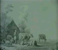 hirtenpaar vor einer hutte mit vieh by james de rijk
