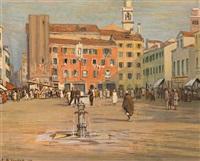 belebter venezianischer platz an einem sonnentag by franz martin lünstroth