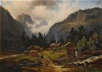 bergslandskap med timmerhus by magnus thulstrup bagge