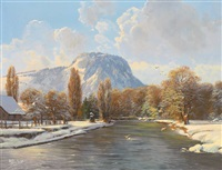 winterlandschaft mit bachlauf im sonnigen licht by wolfgang heinz