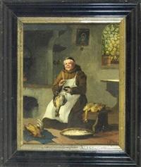 mönch in der klosterküche beim hühnerrupfen by joseph resch