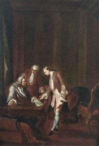 in barockem interieur verhandeln drei herren in höfischem habit (+ geheimes treffen; pair) by pieter jacob horemans