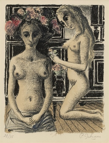 phryne sold with 292b set of 2 by paul delvaux