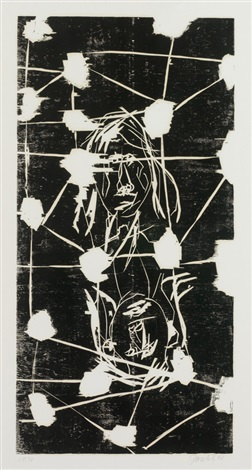 zwei köpfe hinter gittern aus 45 april 45 november by georg baselitz