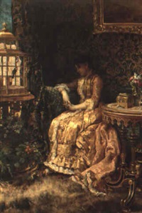 a pensive young woman sitting in and interior by alberto vianelli