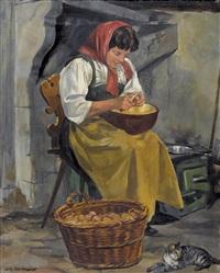 kartoffeln schälende bäuerin by hans gartmeier