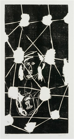 kopf hinter gittern aus 45 april 45 november by georg baselitz