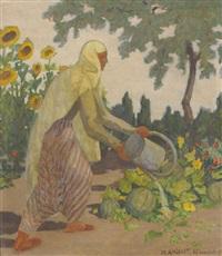 gärtnerin beim begiessen von melonenpflanzen in anatolien by marcel amiguet