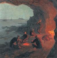 pêcheurs au cap sounion by marcel amiguet