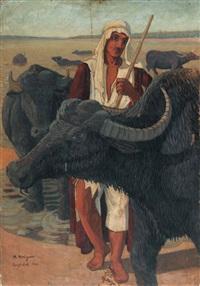 irakischer hirte mit büffelherde am fluss by marcel amiguet