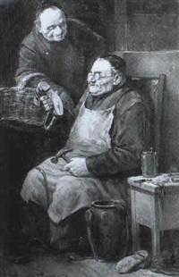 ein franziskanermonch flickt ein paar alte schuhe, die ihm sein bruder gebracht hat by leonhard wilhelm lehmann