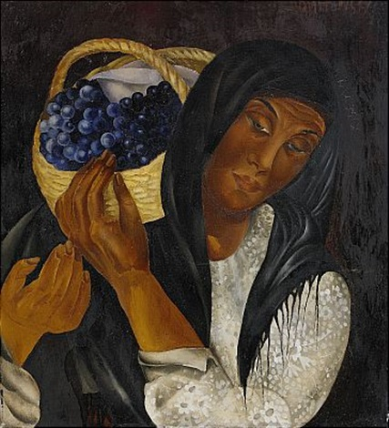 woman with a basket of grapes by lydia dmitrievsky