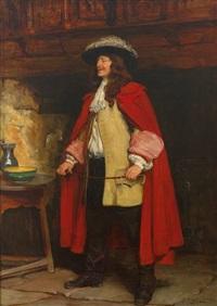 portrait eines eleganten herren mit rotem umhang, gelber jacke und stiefeln by john seymour lucas