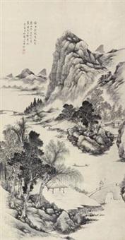 策杖溪桥图 (landscape) by dai yiheng