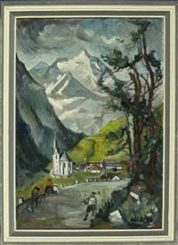 heilig-blut-kirche mit blick auf den großglockner by wolfgang von websky